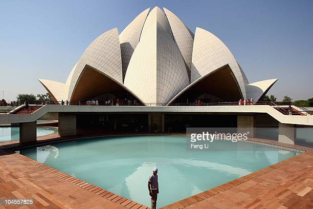 Tourists viste the Lotus Temple on September 30 2010 in Delhi India