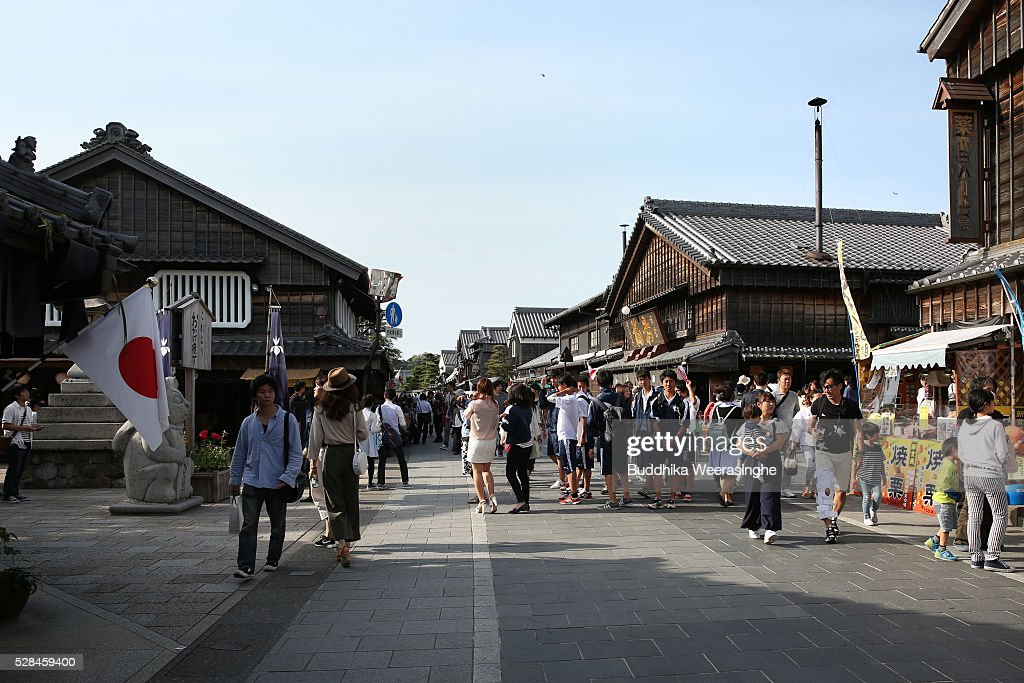 Tourists walk along the Okage Yokocho, a traditional shopping street on May 5, 2016 in Ise, Japan. Ise-Shima prepares for the G7 summit which is to be held on May 26 and 27, 2016.