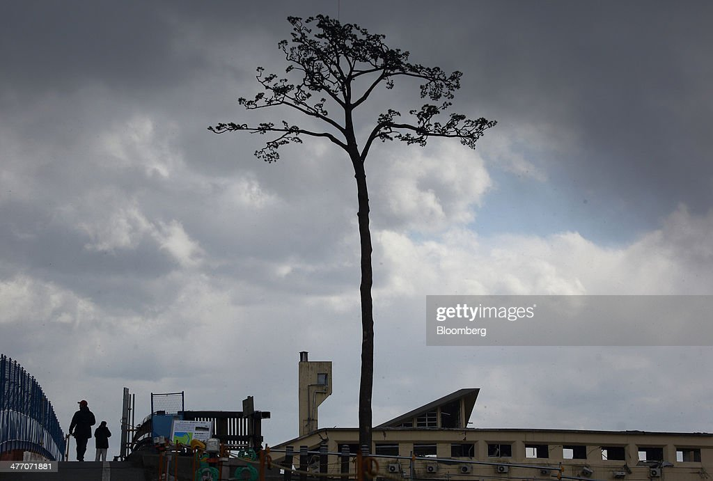 Tourists walk past a monument dedicated to the lone pine tree that survived the March 2011 earthquake and tsunami in Rikuzentakata, Iwate Prefecture, Japan, on Thursday, March 6, 2014. Reconstruction of Tohoku, the northern Japan region devastated by the 2011 tsunami, continues as the third anniversary of the disaster approaches. Photographer: Tomohiro Ohsumi/Bloomberg via Getty Images