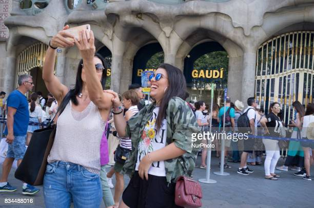 Tourists walk the streets in Barcelona Spain downtown on August 2 2017