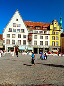 Tourists walking in front of Town square, Tallinn, Estonia