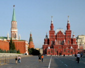CONTENT] Tourists walking in the morning in Red Square in Moscow Russia with gates of Kremlin and the Historical Museum in background