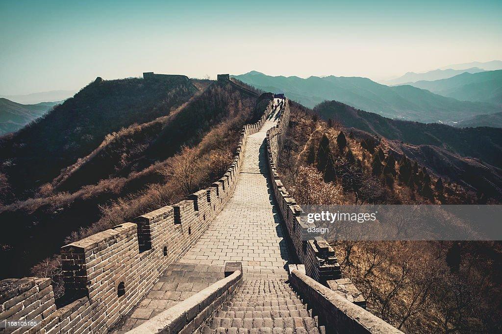 Tourists walking on Great Wall, Beijing, China