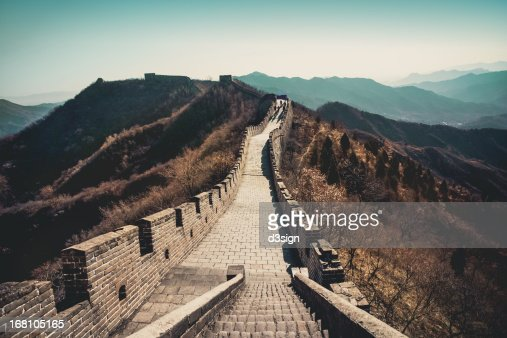 Tourists walking on Great Wall, Beijing, China
