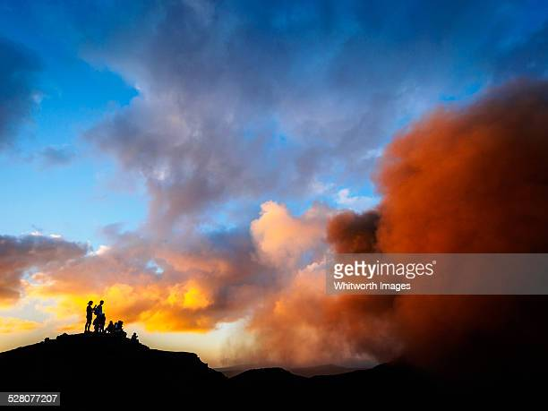 Tourists watching Mt Yasur volcano. Tanna, Vanuatu