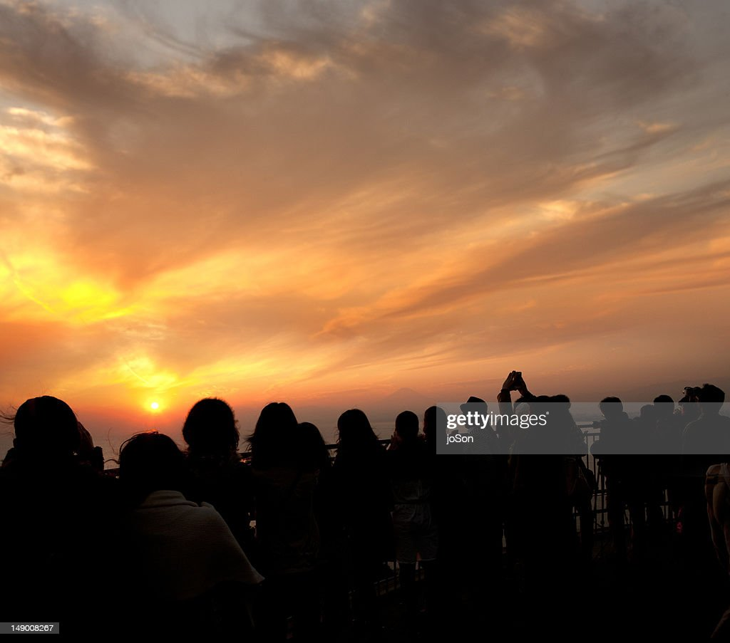 Tourists watching sunset at Observation Tower : Stock Photo