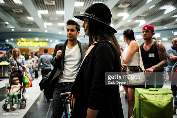 Tourists who had a flight to Birmingham wait for information on November 05 2015 in Sharm ElSheikh Egypt British airplanes going in and out of the...