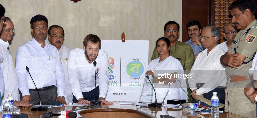 Tournament Director of FIFA U17, Javier Ceppi and West Bengal Chief Minister Mamata Banerjee lunches logos Fifa U 17 and Biswa Bangla at State Secretariat office Nabanna on August 23,2017 in Kolkata,India.