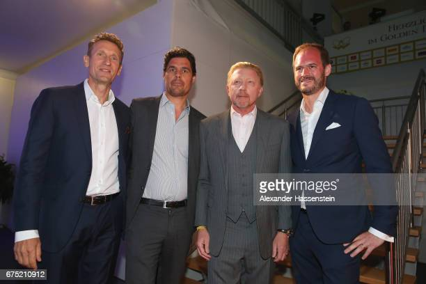 Tournament director Patrick Kuehnen Fabian Tross Boris Becker and Peter Bosch arrive at the Players Night of the 102 BMW Open by FWU at Iphitos...
