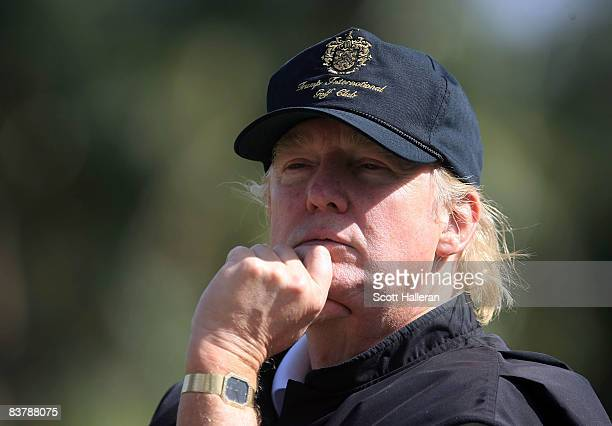 Tournament host Donald Trump watches the play during the third round of the ADT Championship at the Trump International Golf Club on November 22 2008...