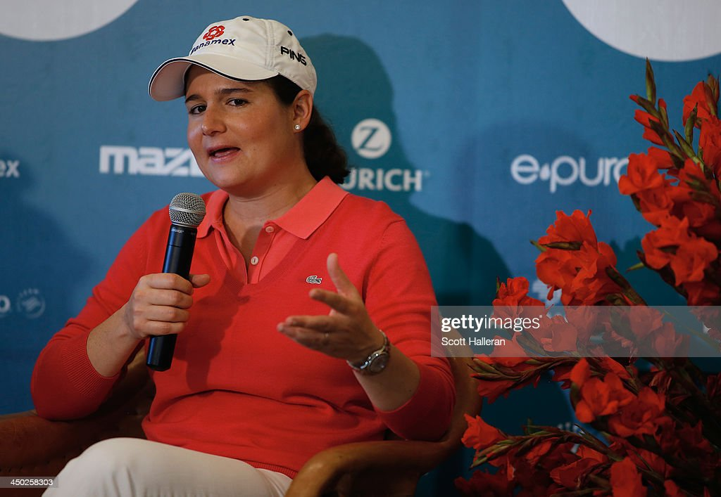 Tournament host Lorena Ochoa of Mexico discusses the future of the event with the media after the final round of the Lorena Ochoa Invitational Presented by Banamex at the Guadalajara Country Club on November 17, 2013 in Guadalajara, Mexico.