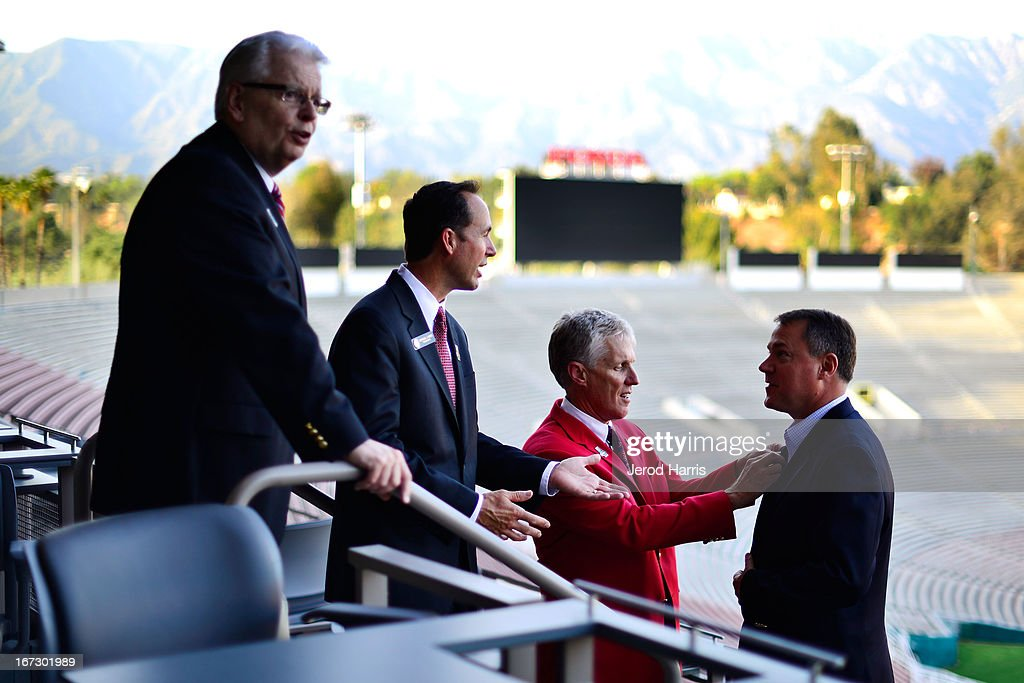 Tournament of Roses President Scott Jenkins (2nd from Right) and Rose Bowl committee members at Rose Bowl Stadium on April 23, 2013 in Pasadena, California.