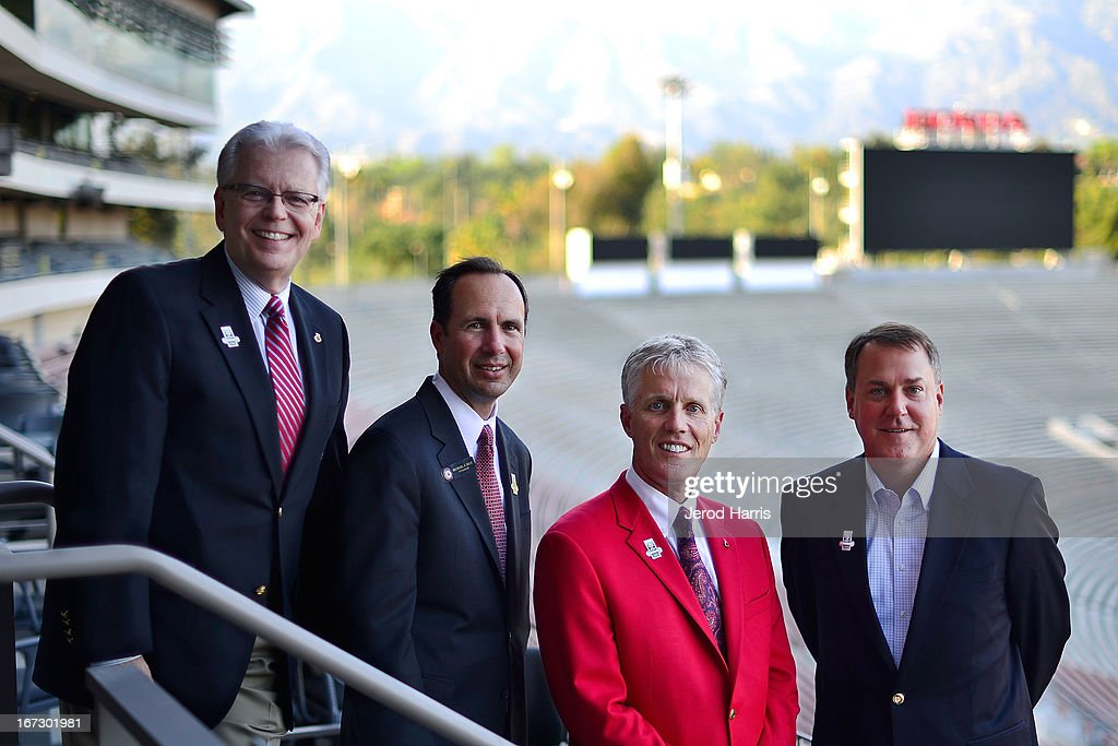 Tournament of Roses President Scott Jenkins (2nd from Right) poses with Rose Bowl commitee members at Rose Bowl Stadium on April 23, 2013 in Pasadena, California.