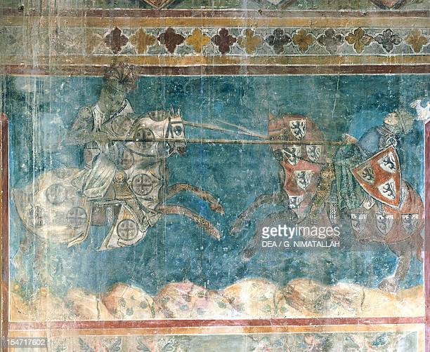 Tournament scenes dedicated to Charles of Anjou Azzo of Masetto fresco Dante's Hall People's Palace San Gimignano Tuscany Detail Italy 13th century