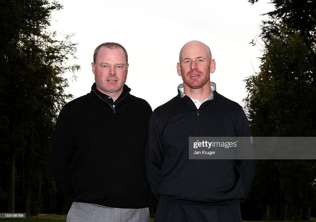 Tournament winners Adrian Ambler of Low Laithes GC(L) and partner Aran Wainwright of Mid Yorkshire GC pose during the final round of the Skins PGA Fourball Championship at Forest Pines Hotel & Golf Club on October 5, 2012 in Broughton, England.