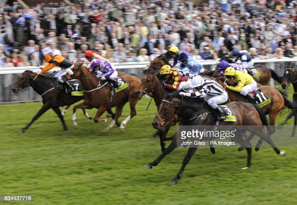 Tournedos and jockey Silvestre De Sousa win the enter the totetentofollow Stakes at York Racecourse York