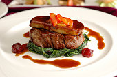 Tournedos Rossini. steak with foie gras. french steak dish with foie gras and croutons.