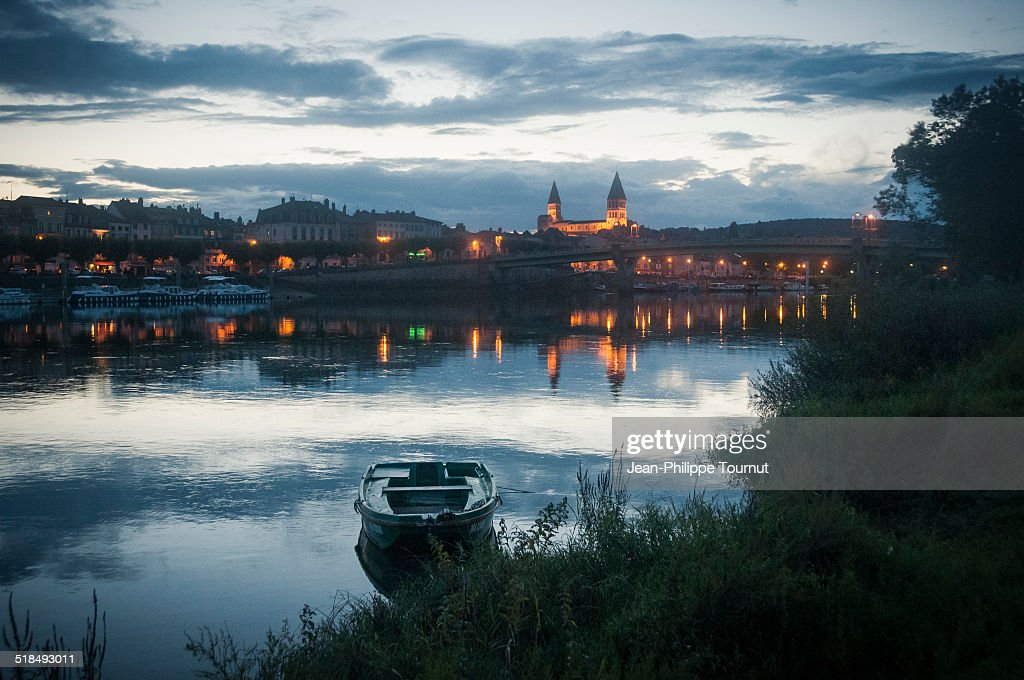 Tournus and the Saone River at Dusk