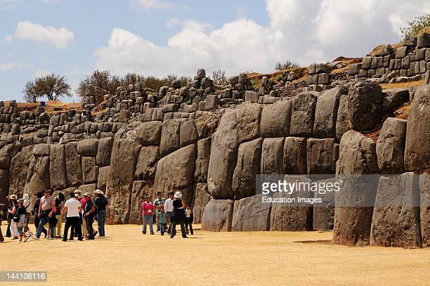 Toursts At Sacsayhuaman Inca Ruins Peru