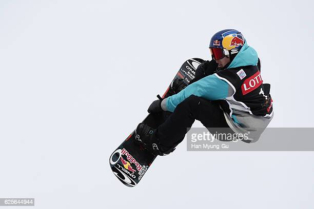 Toutant Sebastian of Canada competes in Mens H1 Qualifications R1 during the FIS Snowboard World Cup 2016/17 at Alpensia Ski Jumping Center on...