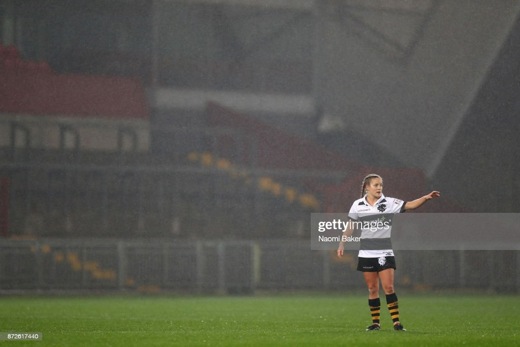 Tova Derk gives instruction to her team mates during the Inaugural Representative Match between Barbarians Women's RFC and Munster Women, on November 10, 2017 in Limerick, Ireland.