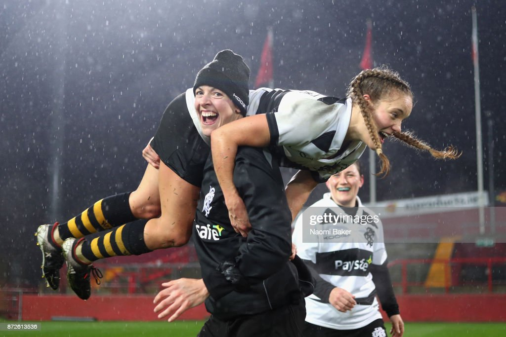 Tova Derk of the Women's Barbarians is lifted up by Vicki Jackson during the celebrations after they win the Inaugural Representative Match between Barbarians Women's RFC and Munster Women, on November 10, 2017 in Limerick, Ireland.