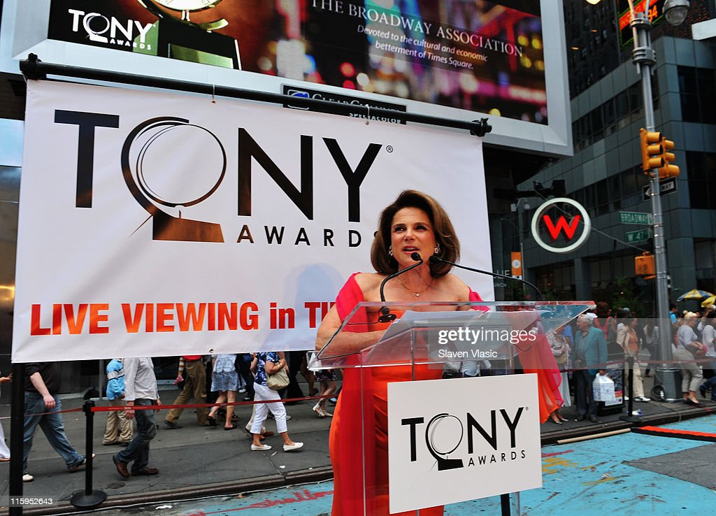 <a gi-track='captionPersonalityLinkClicked' href=/galleries/search?phrase=Tovah+Feldshuh&family=editorial&specificpeople=208758 ng-click='$event.stopPropagation()'>Tovah Feldshuh</a> speaks during the Times Square simulcast of the 65th Annual Tony Awards in Times Square on June 12, 2011 in New York City.