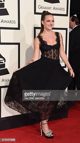 Tove Lo arrives on the red carpet during the 58th Annual Grammy Music Awards in Los Angeles February 15 2016 AFP PHOTO/ Valerie MACON / AFP / VALERIE...