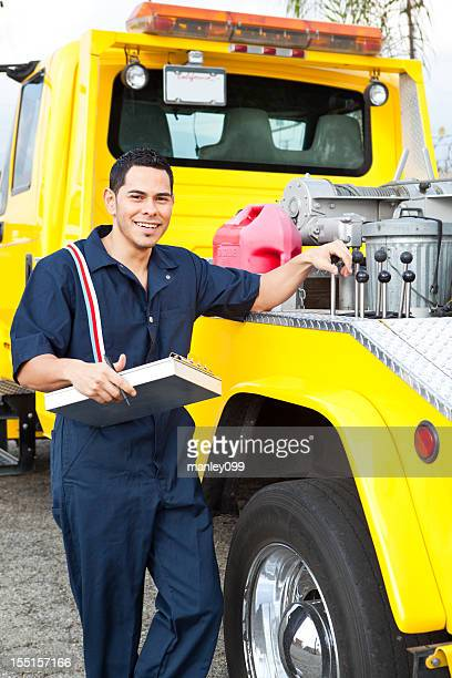 Tow truck driver ready to serve