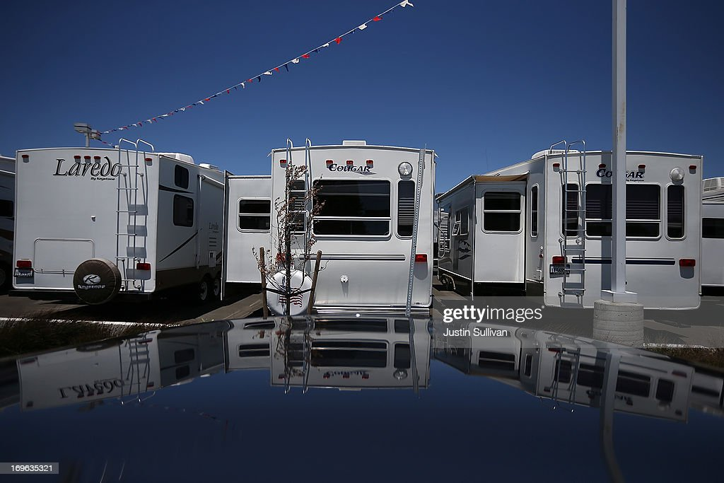Towable RVs are displayed at Cordelia RV on May 29, 2013 in Fairfield, California. Deliveries of motor homes and towable RVs to dealers surged 11 percent in the first quarter and the RV industry anticipates a total of 307,300 units will be shipped this year, the highest number since 2007.