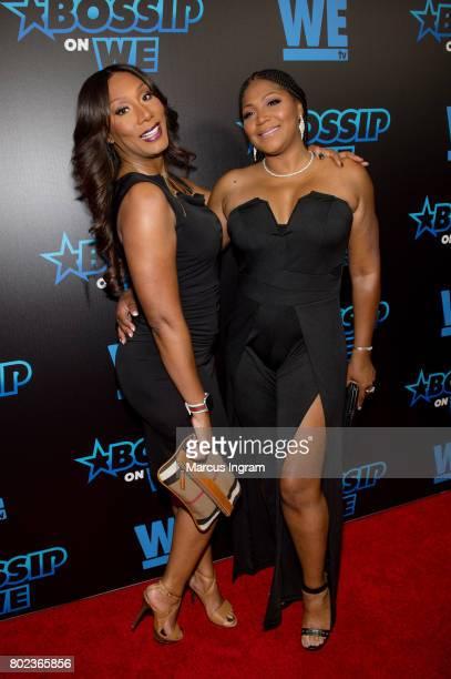 Towanda Braxton and Trina Braxton attend 'Bossip On WE' Atlanta launch celebration at Elevate at W Atlanta Midtown on June 27 2017 in Atlanta Georgia