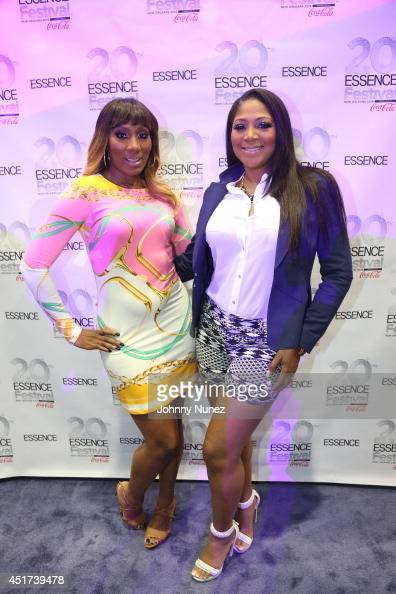 Towanda Braxton and Trina Braxton attend the 2014 Essence Music Festival on July 5 2014 in New Orleans Louisiana