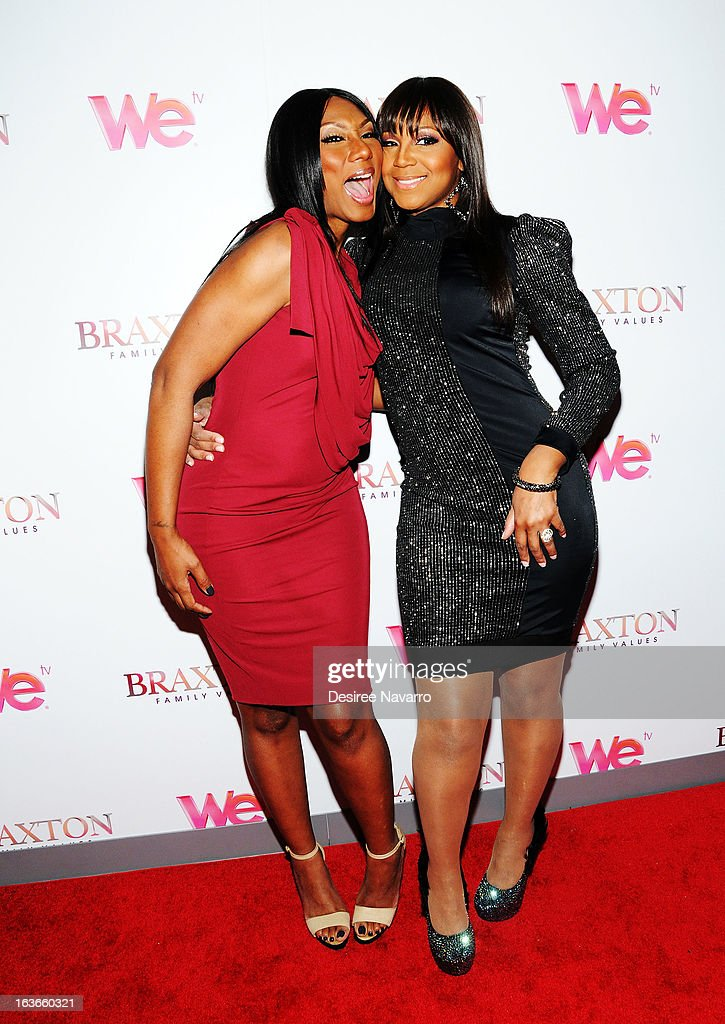 Towanda Braxton and Trina Braxton attend the 'Braxton Family Values' Season Three premiere party at STK Rooftop on March 13, 2013 in New York City.
