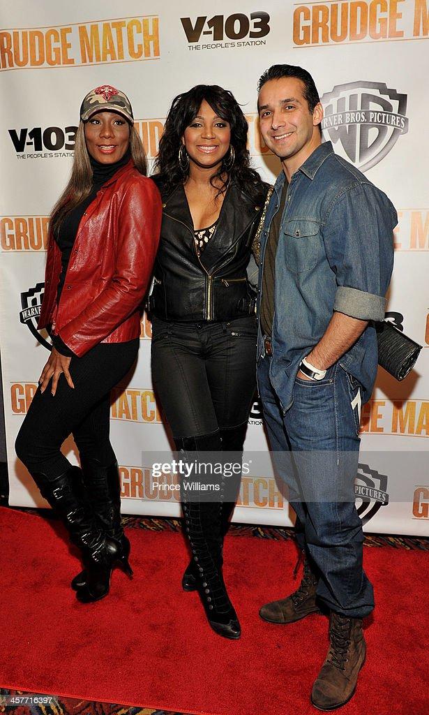 Towanda Braxton Trina Braxton and Gabe Solis attend the 'Grudge Match' screening at AMC Parkway Pointe on December 17 2013 in Atlanta Georgia