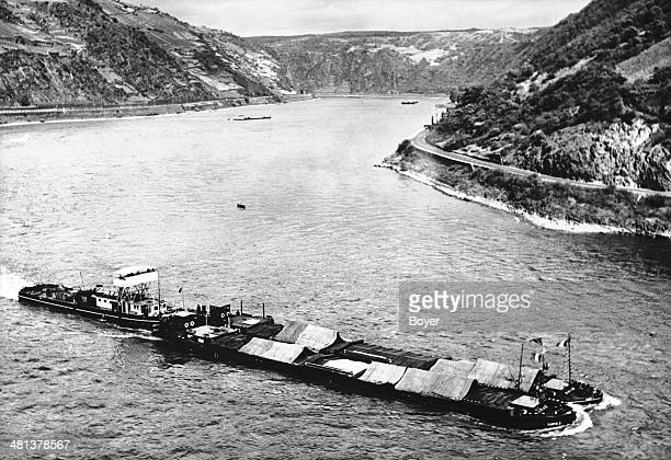 Towboats on the river Rhine 1957