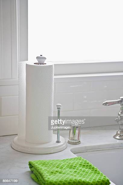 Towel and paper towels with kitchen sink. Paper Towel Stock Photos and Pictures   Getty Images
