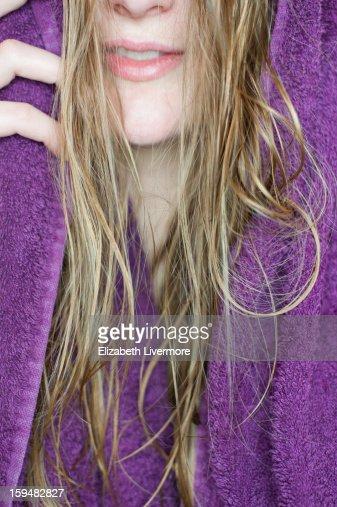 Towel Drying Her Hair : Stock Photo