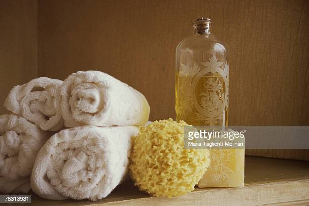Towels and bath oil