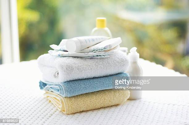 Towels and creams, close up