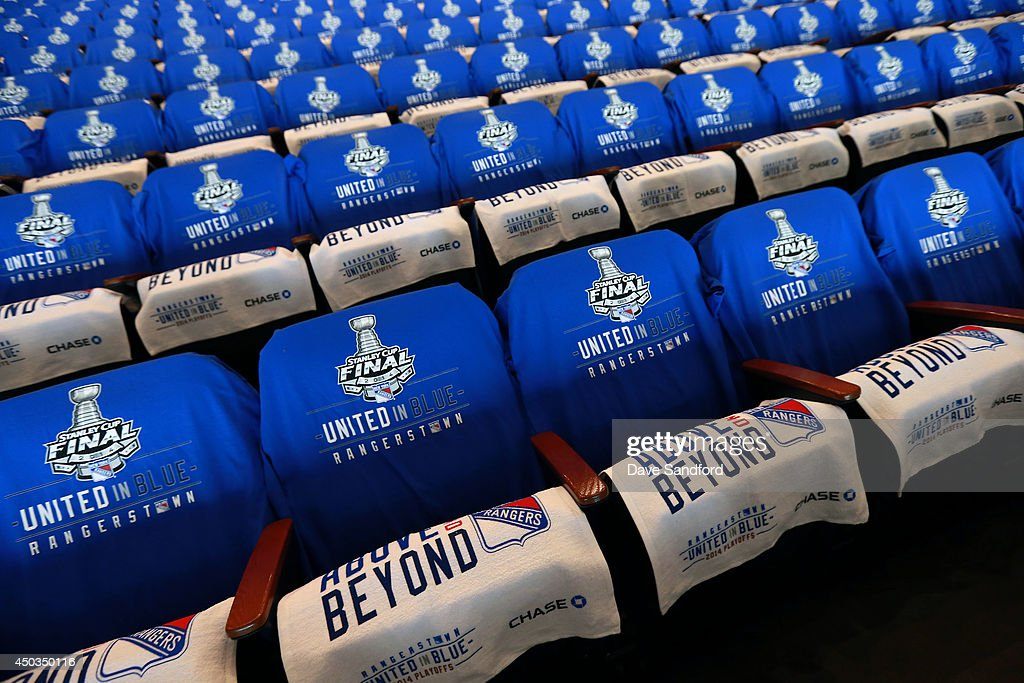 Towels and T-shirts drape the seats of Madison Square Garden prior to Game Three of the 2014 Stanley Cup Final between the Los Angeles Kings and the New York Rangers at Madison Square Garden on June 9, 2014 in New York, New York.