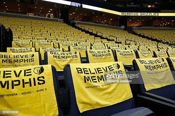 Towels decorare the seats prior to game three of the Western Conference Quarterfinals during the 2016 NBA Playoffs between the San Antonio Spurs and...