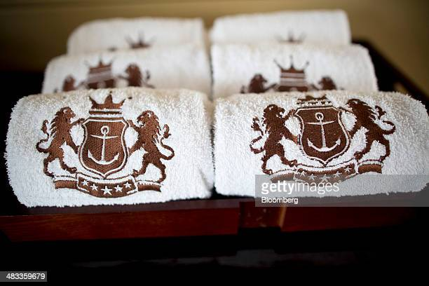 Towels embroidered with the Visun Royal Yacht Club logo sit inside the Visun Royal Yacht Hotel in the Sanya Bay district of Sanya Hainan Province...