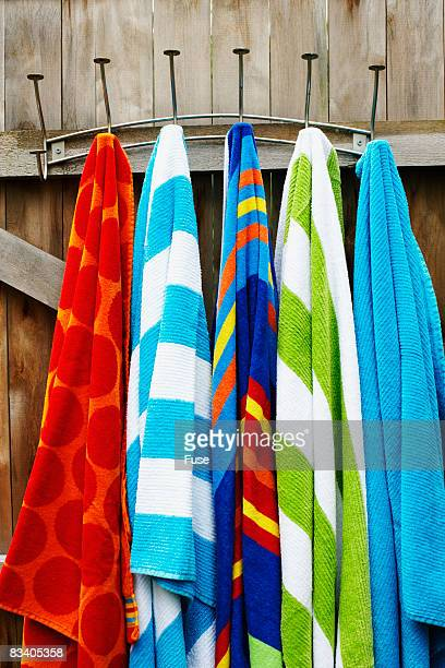 Towels Hanging on Wooden Door