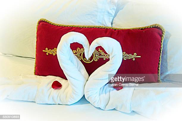 Towels on bed forming a hearth