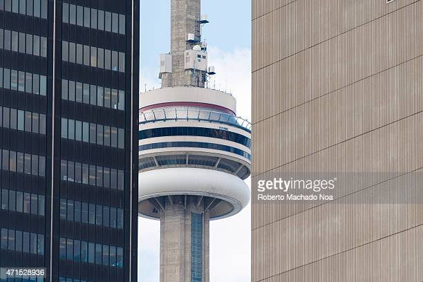 Tower among buildings unusual point of view of this North American iconic landmark and tourist attraction