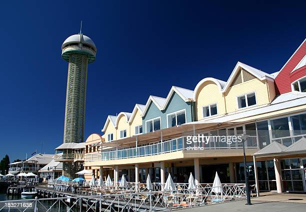 Tower and buildings at a wharf