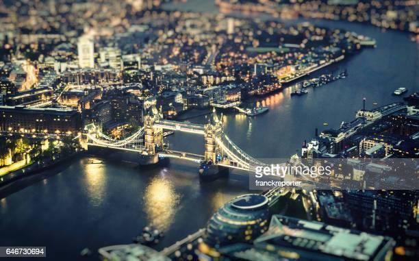 tower bridge aerial view at night