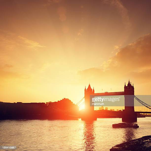 Tower Bridge & Thames river at dawn