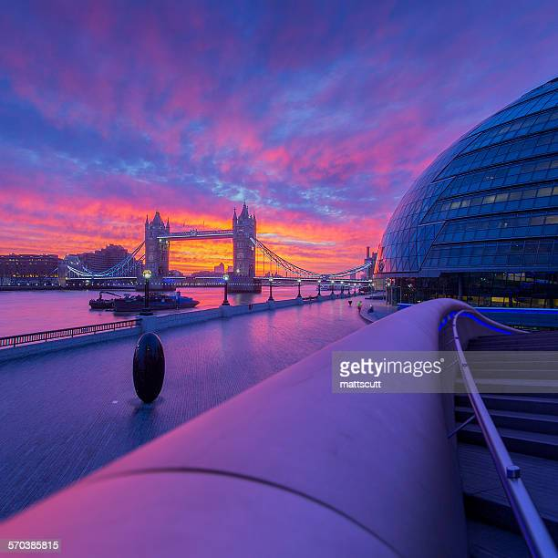 Tower Bridge and City Hall at sunset, London, England, UK