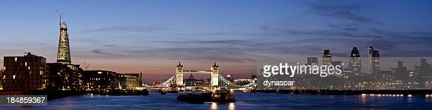 Tower Bridge and the City of London skyline sunset panorama